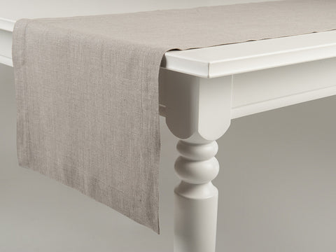 Flax grey linen table runner by Lovely Home Idea