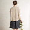 Loose fit linen women's shirt with short sleeves