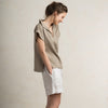 LHI linen women's blouse in flax grey color