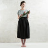 Long black linen skirt by LHI