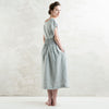 Dove grey linen maxi skirt