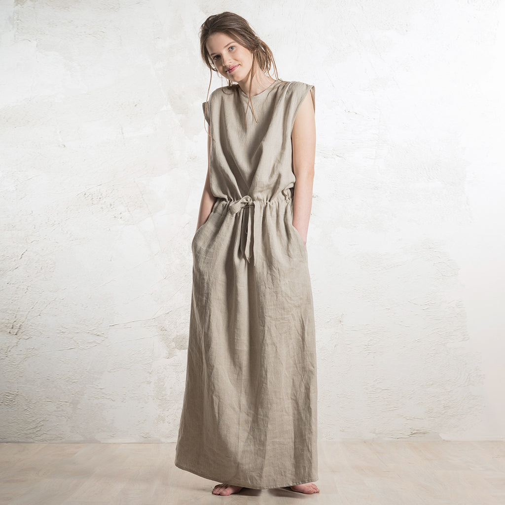 Long linen dress with pockets by LHI