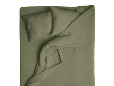 Moss green linen duvet cover by Lovely Home Idea