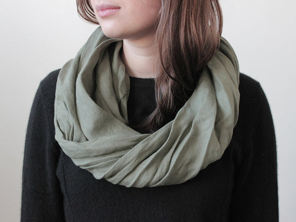 Moss green linen infinity scarf by LHI