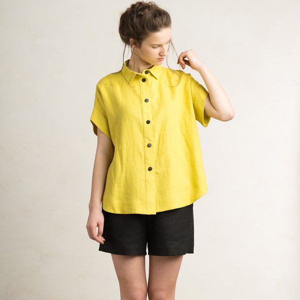 Mustard linen loose fit shirt for women