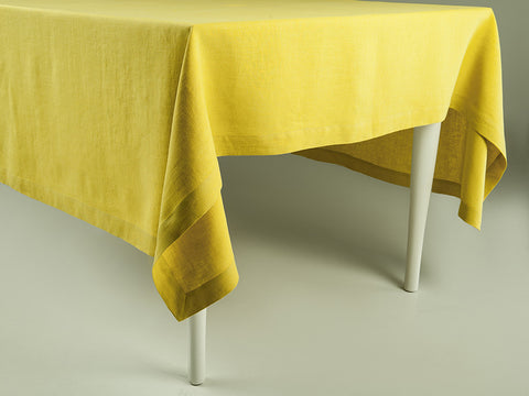 Mustard linen tablecloth by Lovely Home Idea