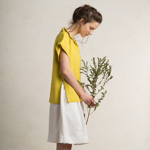 LHI mustard linen blouse for woman
