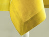Mustard linen tablecloth hem