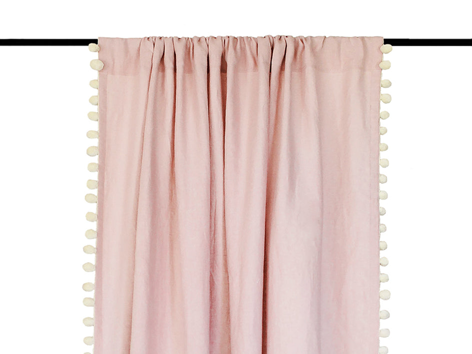 Pom Pom linen curtains Dusty Rose by Lovely Home Idea