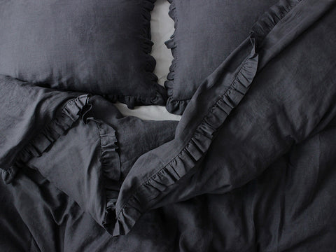 Charcoal linen bedding with ruffles by Lovely Home Idea