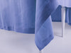 Serenity blue linen tablecloth with classic hem