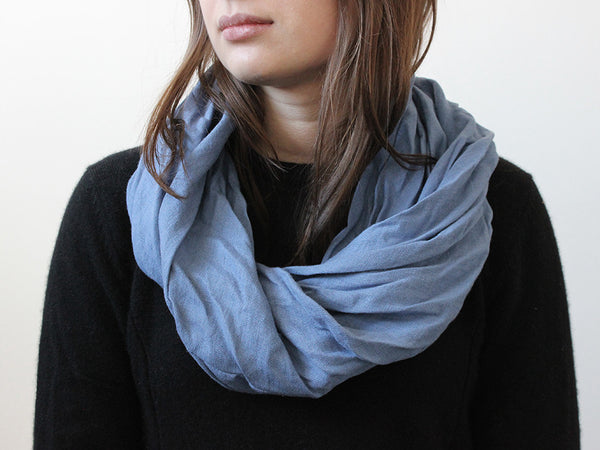 Serenity blue linen infinity scarf by LHI