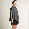 Charcoal linen women's shirt with buttons