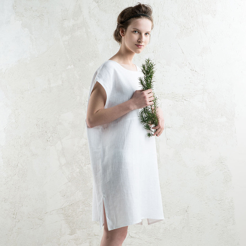 Sleeveless white linen dress by LHI