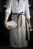 Long linen waist apron with towel loops and pockets