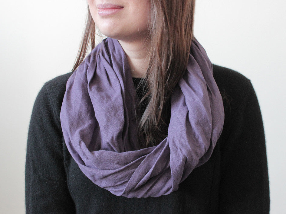 Violet linen infinity scarf