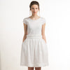 Knee length white linen skirt by LHI