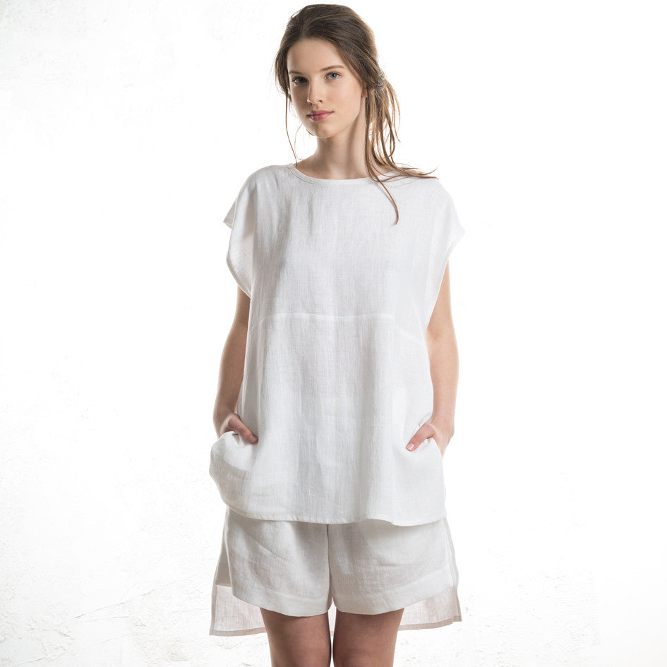 White linen tank top for women