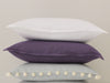 White and violet linen cushions