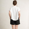 Short sleeve linen shirt for woman in white