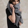 Grey wool shawl wrap for women LHI