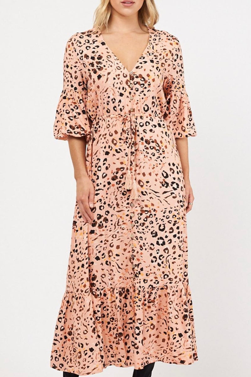 Nara Peach Animal Print Maxi Dress - TFE7399