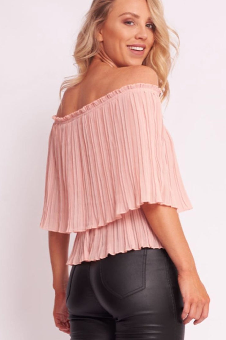 Olive Pleat Off The Shoulder Top - VV7909
