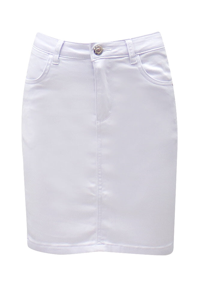 CGK9437 Ava White Denim Skirt