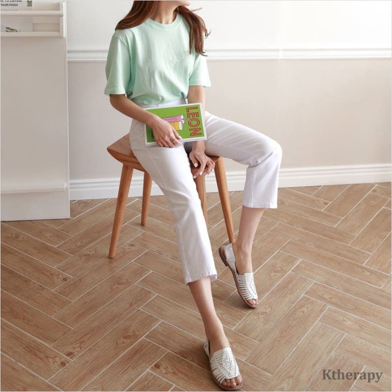 [4th BACKORDER] STRAIGHT CUT COTTON TUMMY BANDING PANTS - LADY