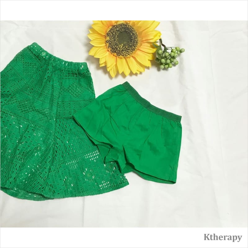 CHEERY LACE SKIRT - GREEN - K therapy