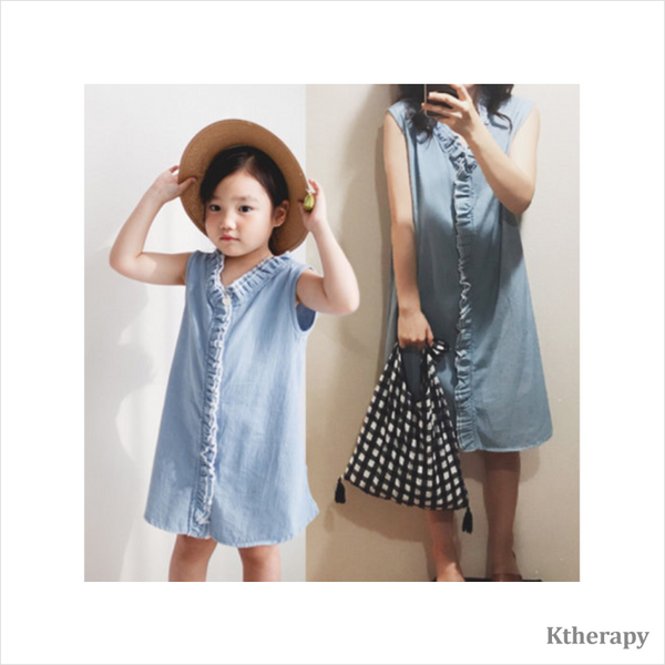 DENIM FRILLS TWINNING DRESS - K therapy