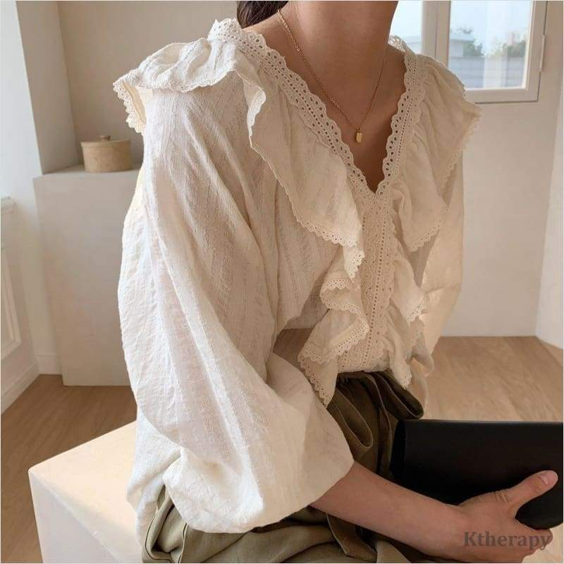 [PRE-ORDER 10%] DION FRILL LACE BLOUSE - K therapy