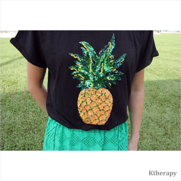FORTUNE PINEAPPLE T-SHIRT - BLACK - K therapy