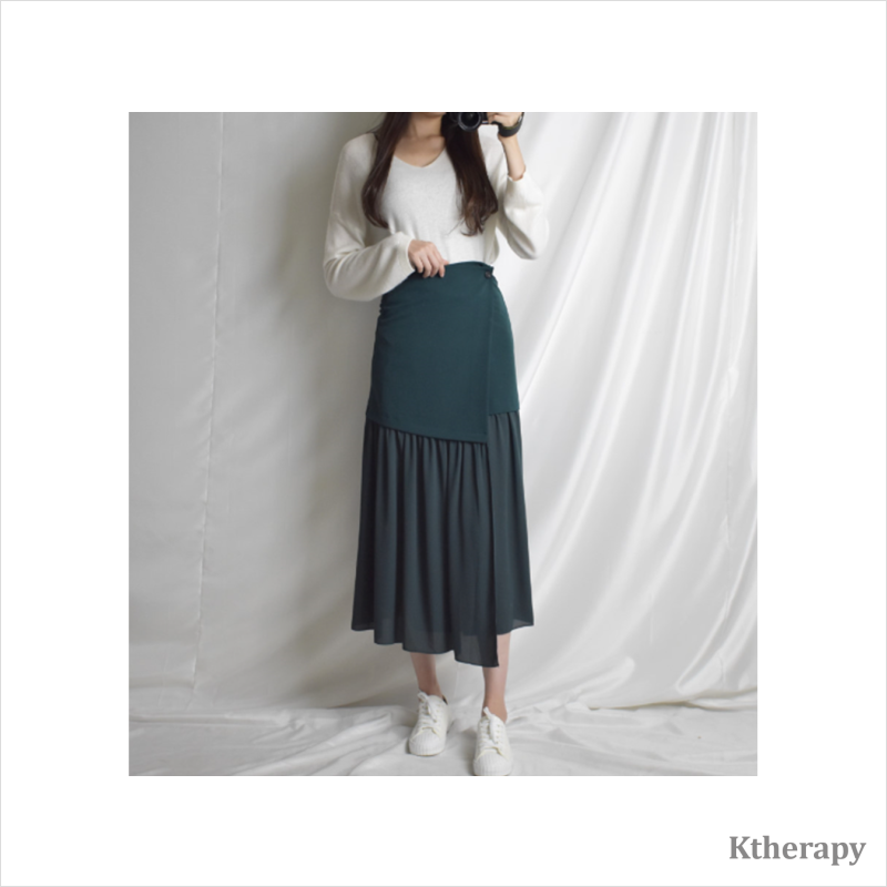 MINT CHIFFON WRAP SKIRT - K therapy