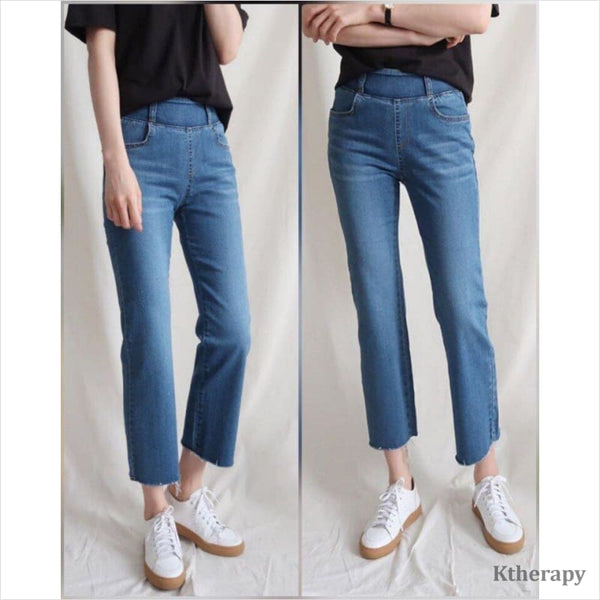 STRAIGHT CUT TUMMY BANDING JEANS - LADY