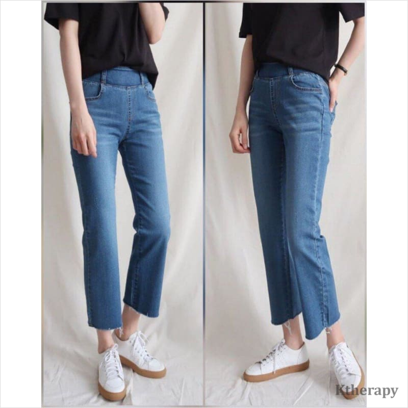 STRAIGHT CUT TUMMY BANDING JEANS - K therapy