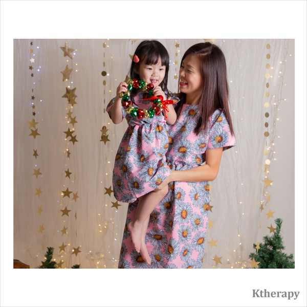 SUNFLOWER TWINNING DRESS - PINK - K therapy