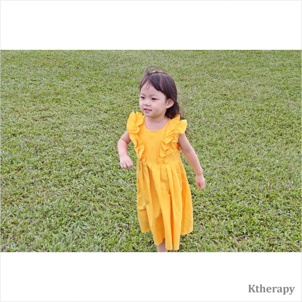 TANGERINE LINEN DRESS - BOY & GIRL