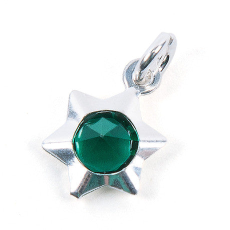 Green Star Sterling Silver Charm