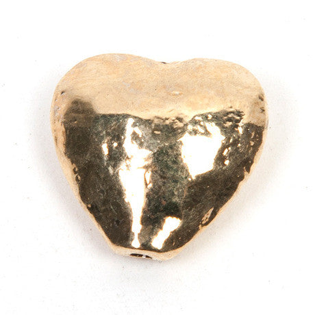 10 x Gold Hammered Heart
