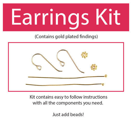 Make Your Beaded Earring Kit (Gold plated) contains all components and instructions.