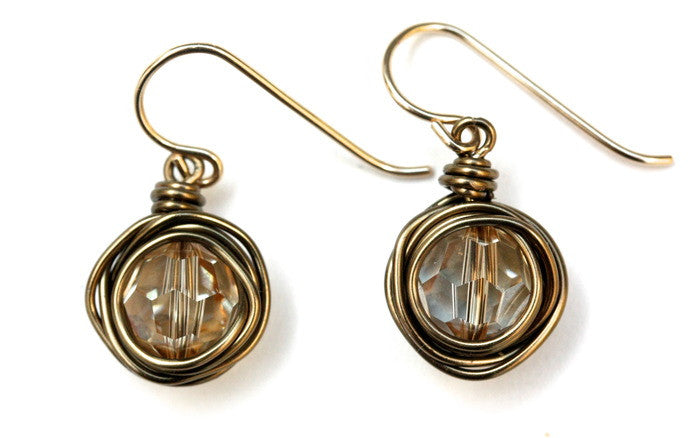 Champagne Swarovski Nest Earrings