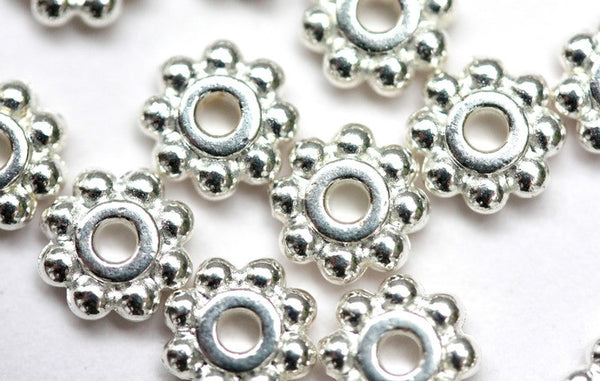 20 x 6mm Fine Silver Plated Flower Spacer