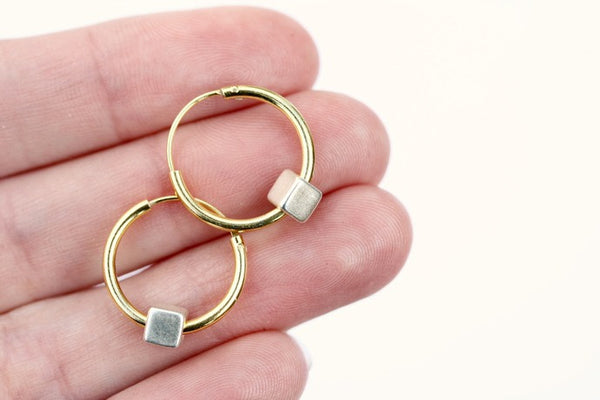 15mm Gold Hoops with Silver Cube