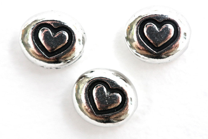10 x  Fine Silver Plated Heart Beads