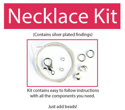 Make your own beaded necklace kit (silver plated) contains all components & instructions