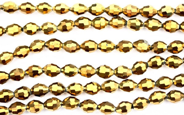 40cm strand of 8x11mm Metallic Gold rice crystal beads