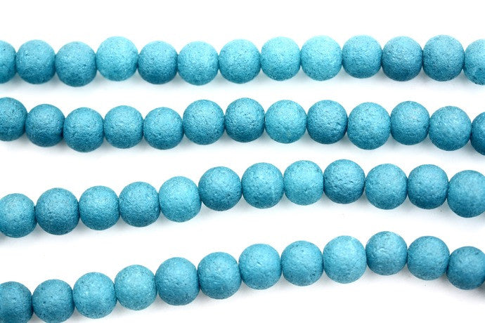 40cm Strand of 10mm Round Blue Matt Glass Beads