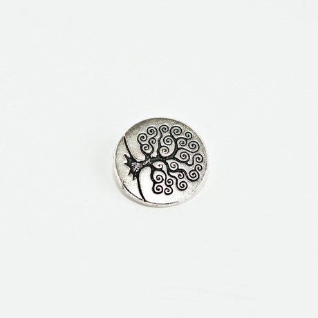 Silver Tree of Life Button