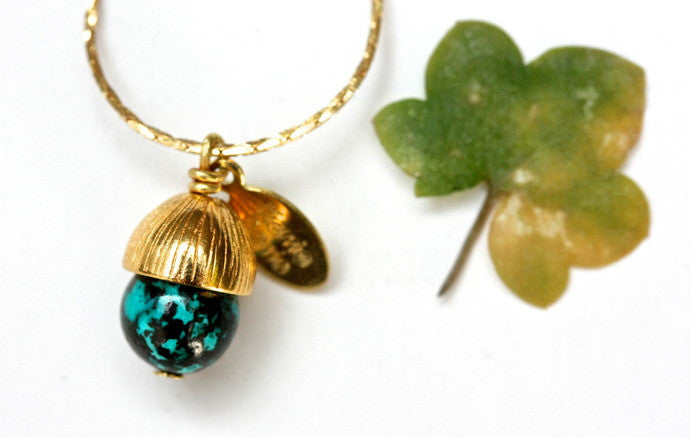 Chrysocolla Acorn Necklace